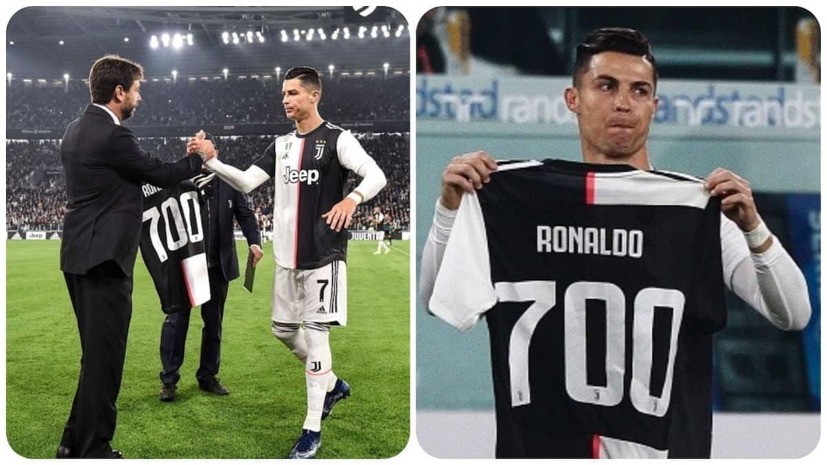 Juventus gift club jersey to Cristiano Ronaldo to mark his 700th goal in video