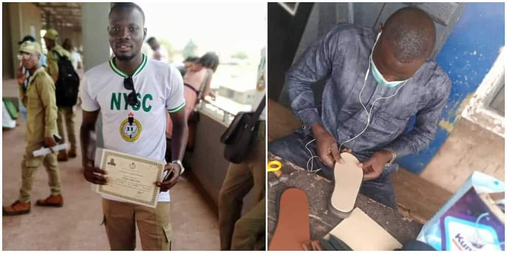 Nigerian Graduate Showcases His Work as a Shoemaker Proudly, Pens Open Letter to Those who Called Him Useless