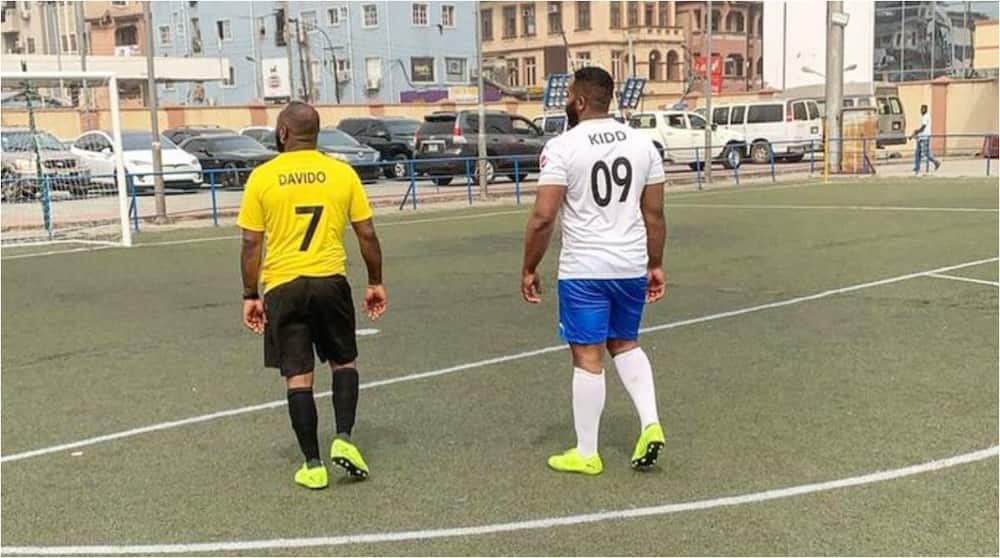 Davido tackles Laycon and Zlatan as Mayorkun, May D, other music stars storm Lagosfor epic football match