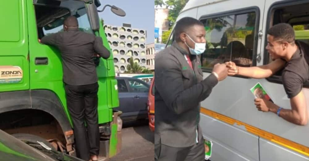 John Dumelo takes campaign to another level; spotted hanging on truck & more