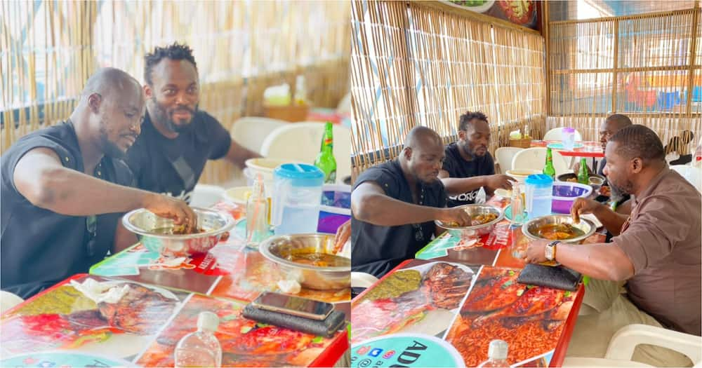 Michael Essien And Stephen Appiah Link Up To Eat TZ At A Chop Bar; Photos Go Viral