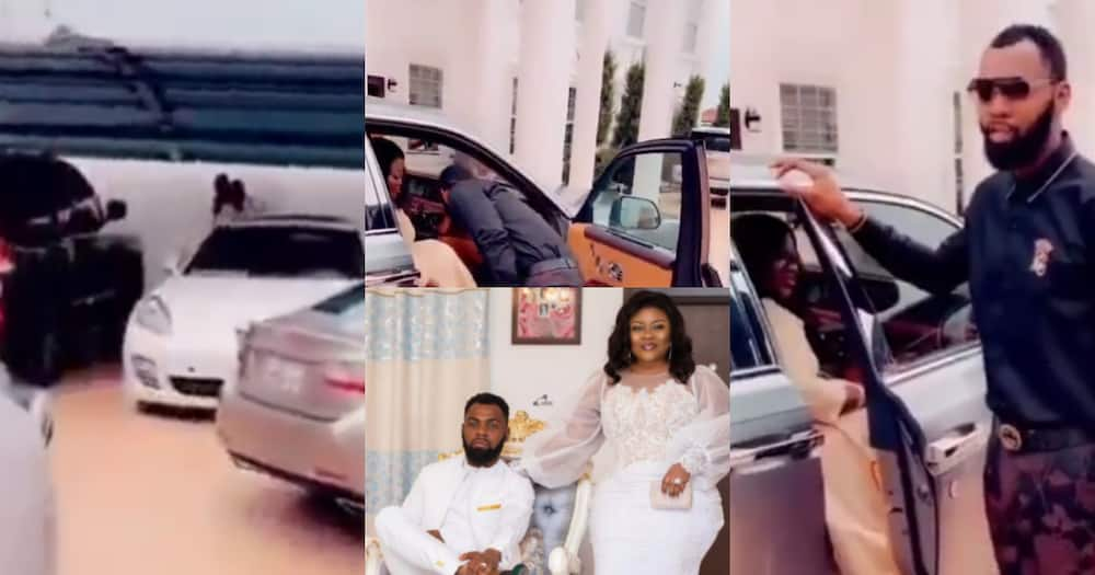 Couple goals: Rev Obofour and wife Ciara show off luxury Rolls Royce in their huge mansion