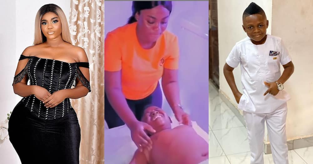 Vivian Okyere massages Yaw Dabo