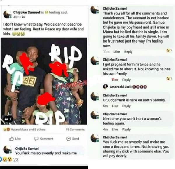 Aggrieved side chick logs into her married lover's Facebook account, declare his family dead