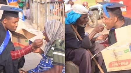 Fresh graduate shares his celebratory cake with homeless people in streets