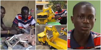 Nigerians react to video of talented boy who built excavator prototype using wood and aluminium