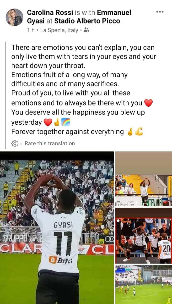 Proud of you love - Emmanuel Gyasi's Italian girlfriend celebrates his stunner against Juventus