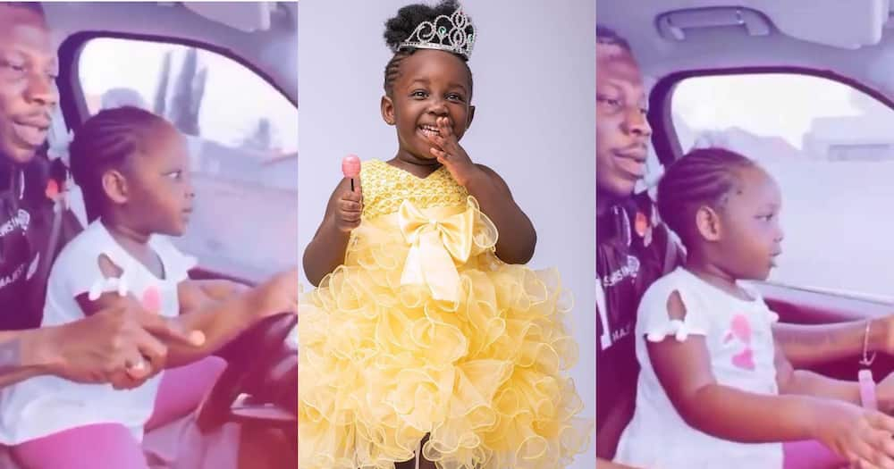 Stonebwoy Allows His Daughter Jidula To Drive Him Around Town; Fans 'Bore' (Video)
