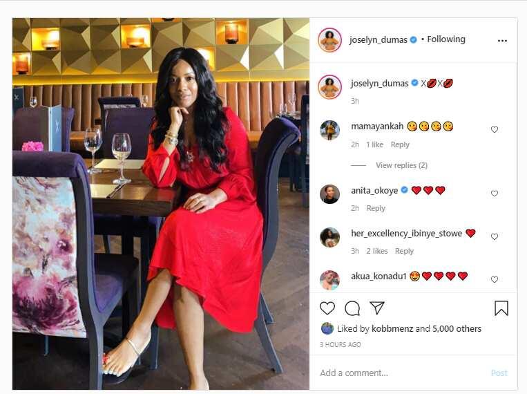 Joselyn Dumas appears slim in new photo wearing red