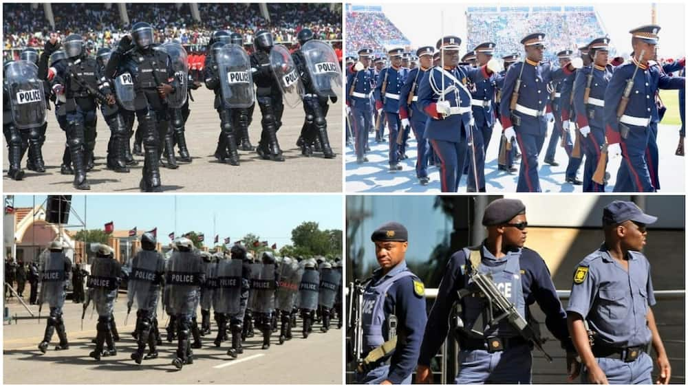 A collage of African police officers. Photo sources: Premium Times/Aljazeera/AnswersAfrica