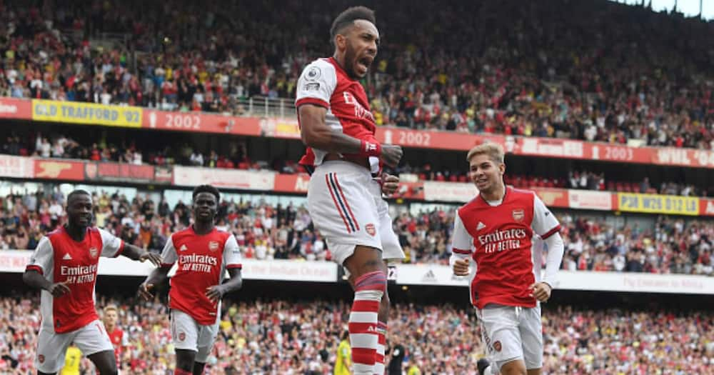 Pierre-Emerick Aubameyang celebrates scoring the Arsenal goal during the Premier League match between Arsenal and Norwich City at Emirates Stadium on September 11, 2021 in London, England. (Photo by Stuart MacFarlane/Arsenal FC via Getty Images)