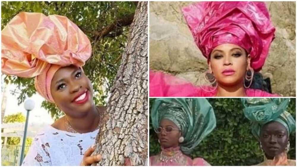 A collage showing Azeezat and Beyonce. Photo source: Yoruba Movies Gist