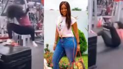 Joselyn Dumas nearly breaks hip bone as she falls heavily at gym in new video