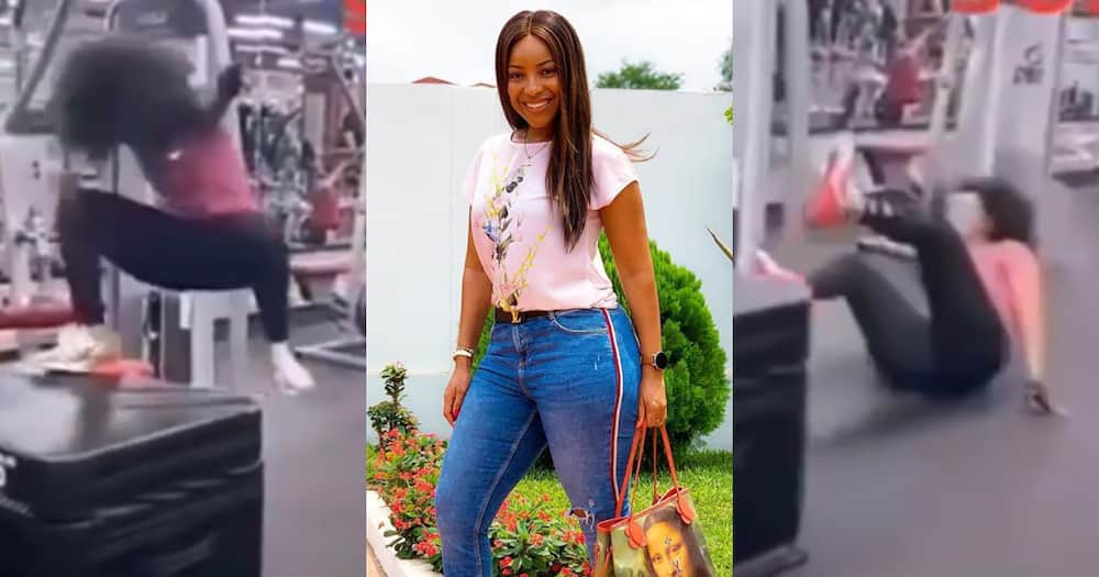 Joselyn Dumas falls heavily exercising at gym in new video