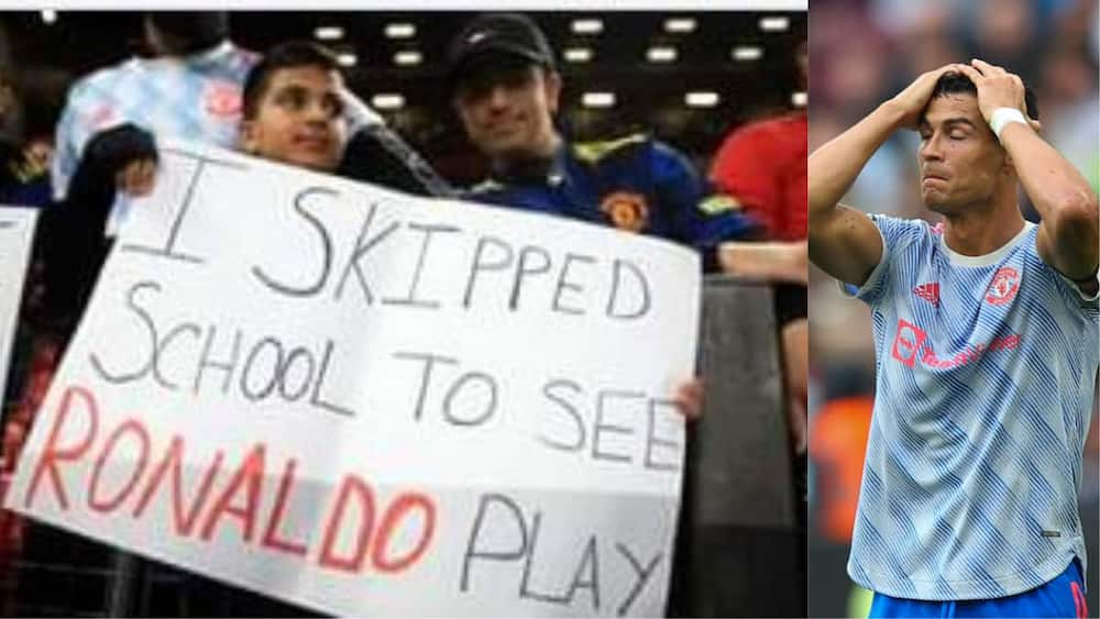 Young Man United Fan Skipped School to Watch Ronaldo, Disappointed As Stunning Photo Emerges