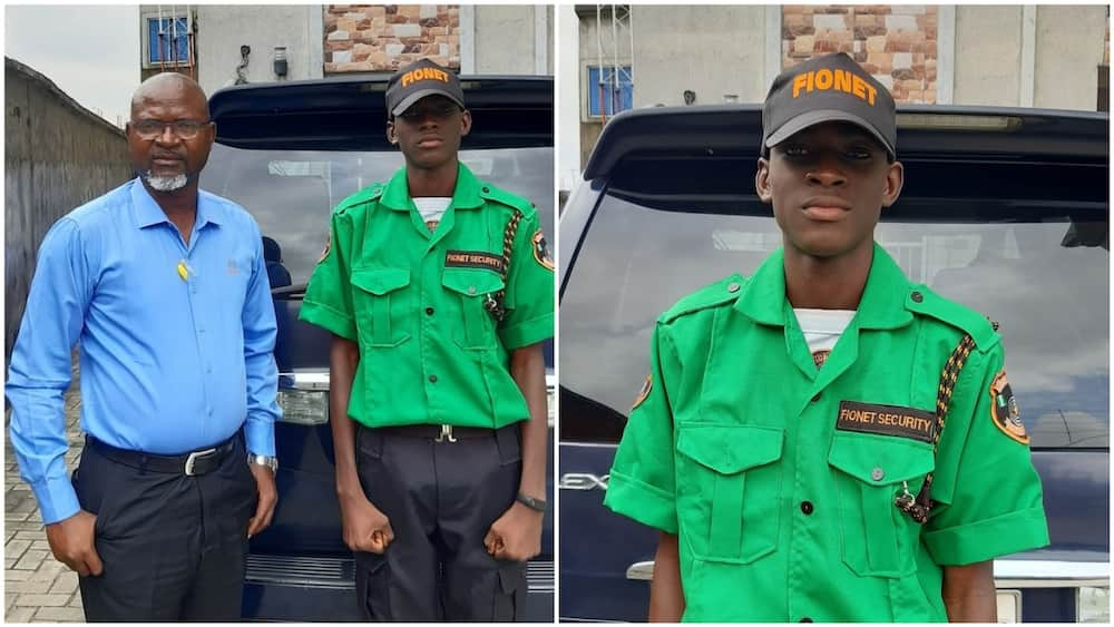 The Nigerian dad shares photos of his son dressed in a security uniform. Photo source: LinkedIn/Felix