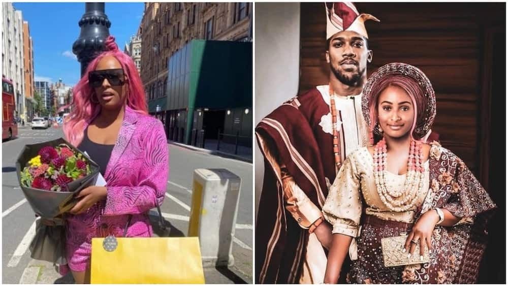 A collage showing DJ Cuppy and the photoshopped picture. Photos sources: Twitter/Instagram/DJ Cuppy