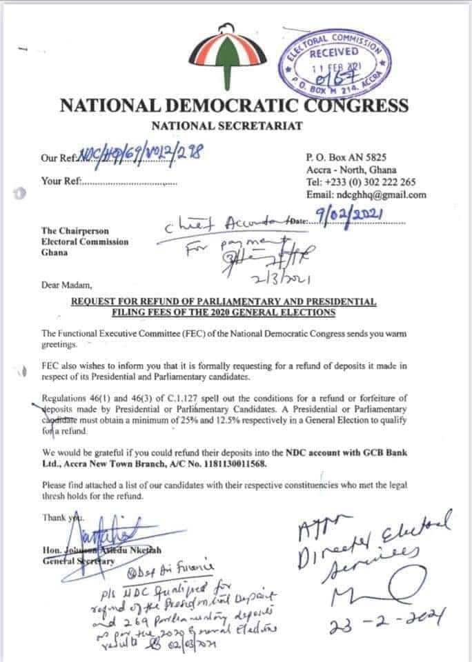 NDC demands refund of 2020 polls filing fees ahead of election petition judgment