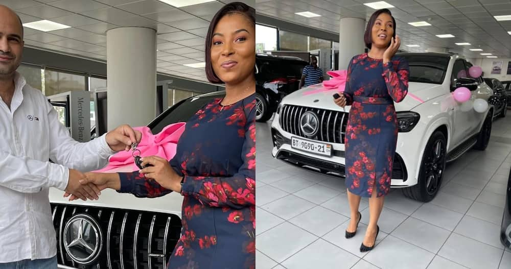 1st Ghanaian lady to drive AMG GLE 53 4M+ coupe 2021 model applauded by Mercedes-Benz