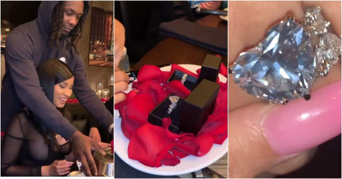 Video of Cardi B close to tears after husband Offset gave her two diamond rings for her 27th birthday