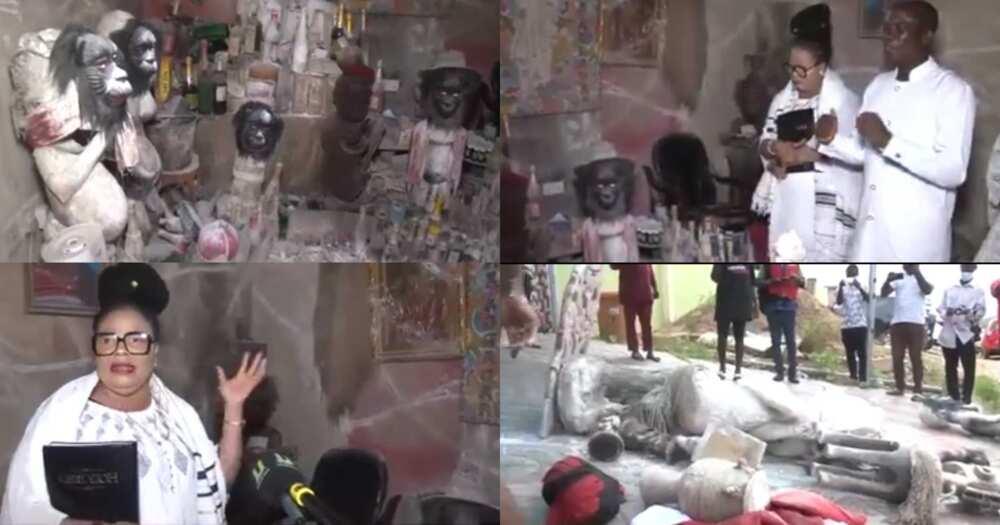 Nana Agradaa Did Not Burn All Her 'gods'; Video Shows She Left 3 Powerful Deities