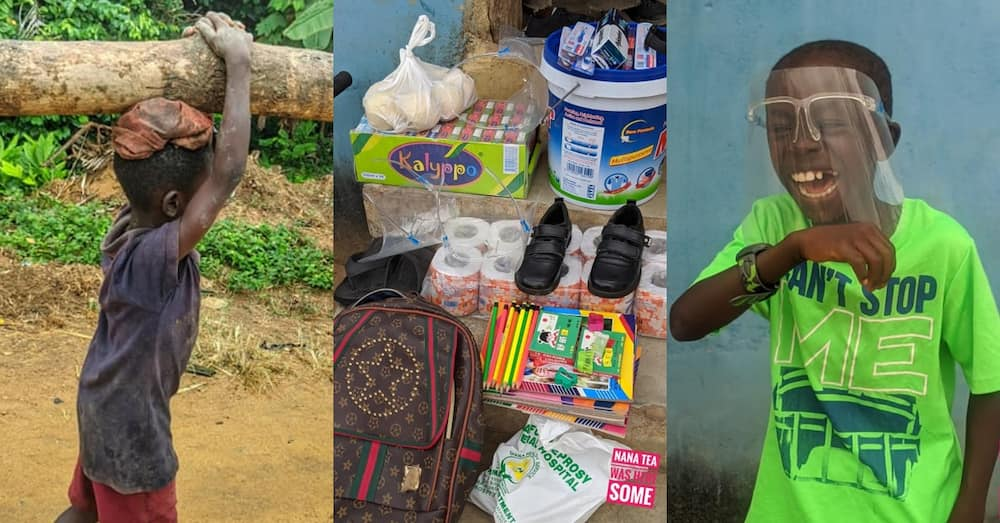 Poor Ghanaian boy spotted carrying log gets transformed massively by social media users