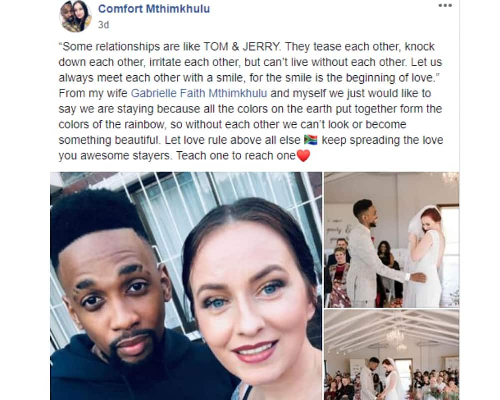 Comfort Mthimkhulu and his wife Gabrielle faith Mthimkhulu received some love from Facebook users. Image: Facebook Comfort Mthimkhulu