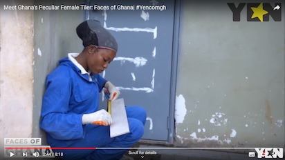 Meet the female Ghanaian tiler who is keenly competing with her male counterparts (Video)