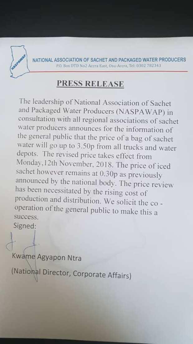 Sachet water price up 50 percent