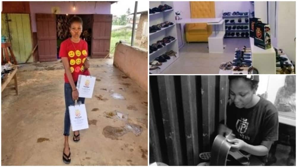 A collage showing the shoemaker and her shop.Photo source: Twitter/@pheeqah_f