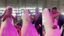 Video of the funny moment Apostle Sam Korankye Ankrah's 2nd daughter prayed before getting her 1st kiss at her wedding