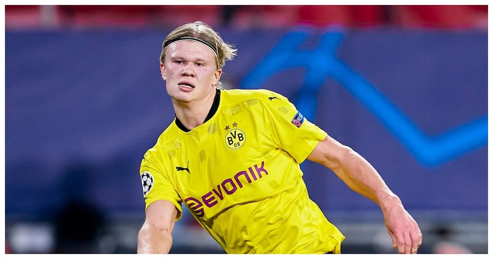 Erling Haaland while in action for Dortmund during the 2020/21 campaign. Photo: Getty Images.