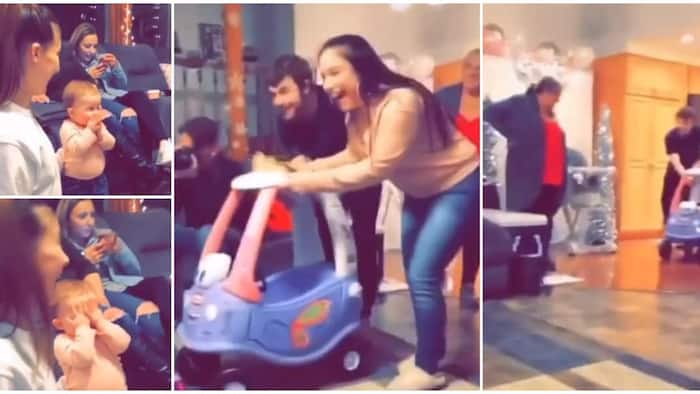 Cute video shows baby's reaction after she got a new car, the kid covered her mouth to contain the shock