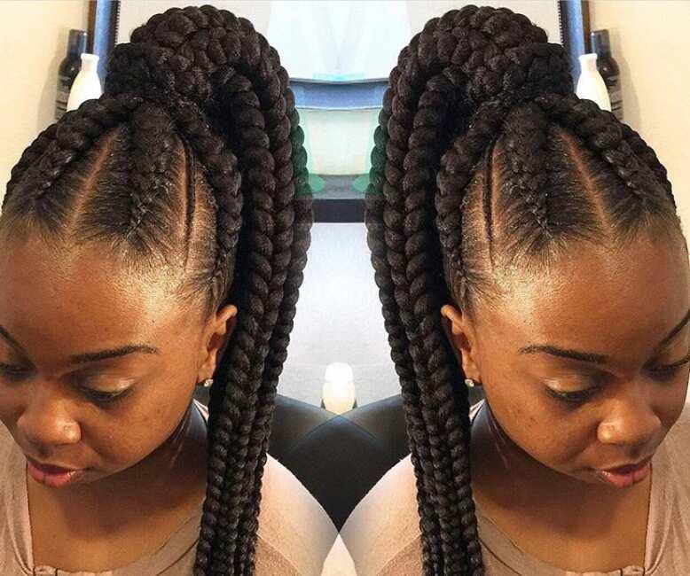 Ghana braids ponytail styles
