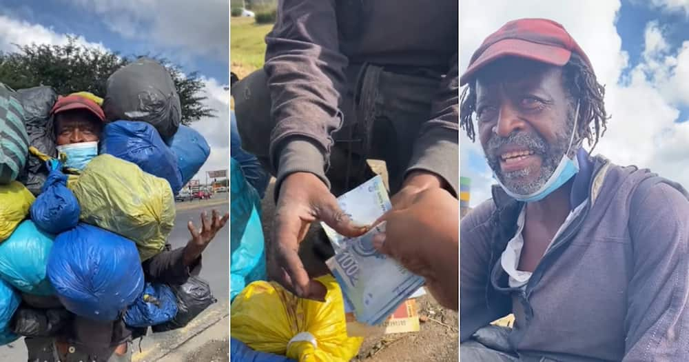 Bi Phakathi Helps Homeless Man With a Fresh Start, Gives Clothes and Money