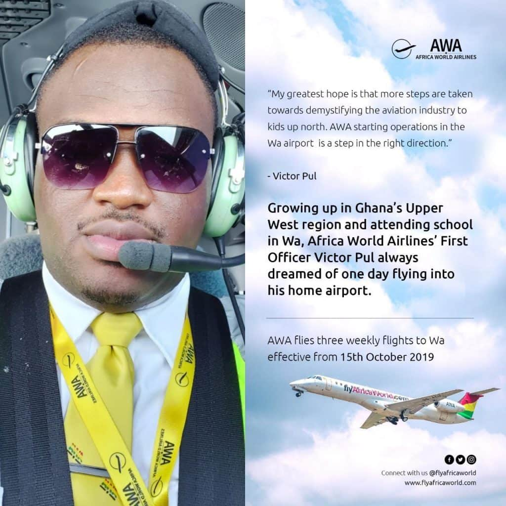 Meet Victor Pul 1st Ghanaian to fly 1st commercial flight to new Wa Airport