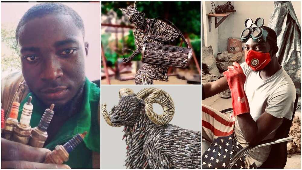 Nigerian man makes great arts using generator plugs, photos of his works cause massive stir