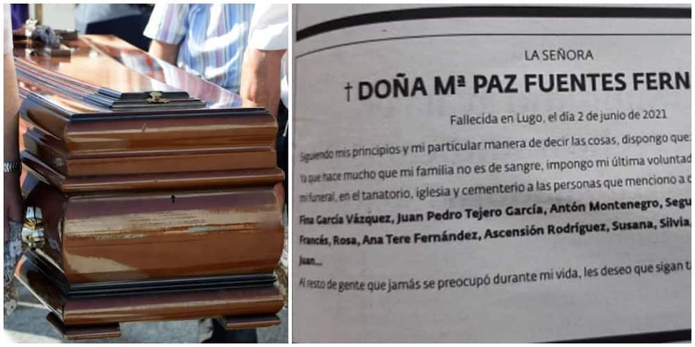 Woman stops members of her family from coming to her funeral, gives list of those who can
