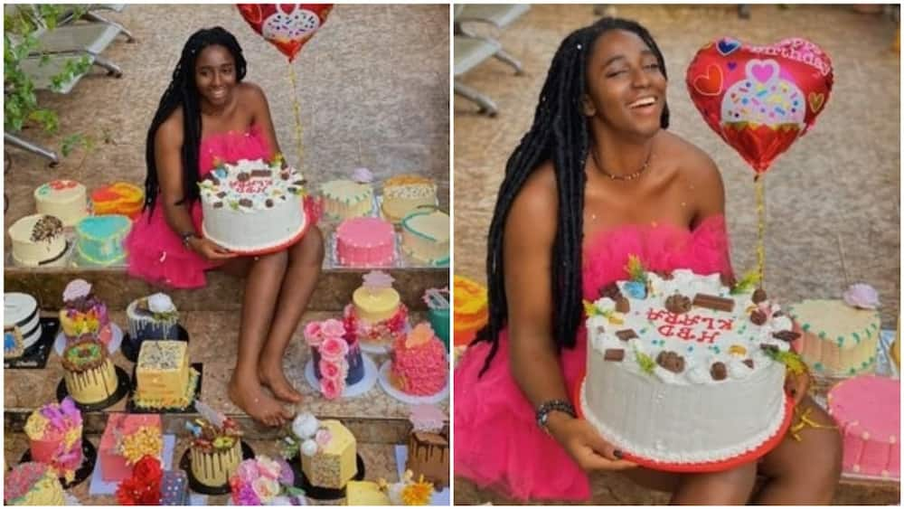 The lady was all smiles as she marked her birthday. Photo source: Twitter/Ifedioku