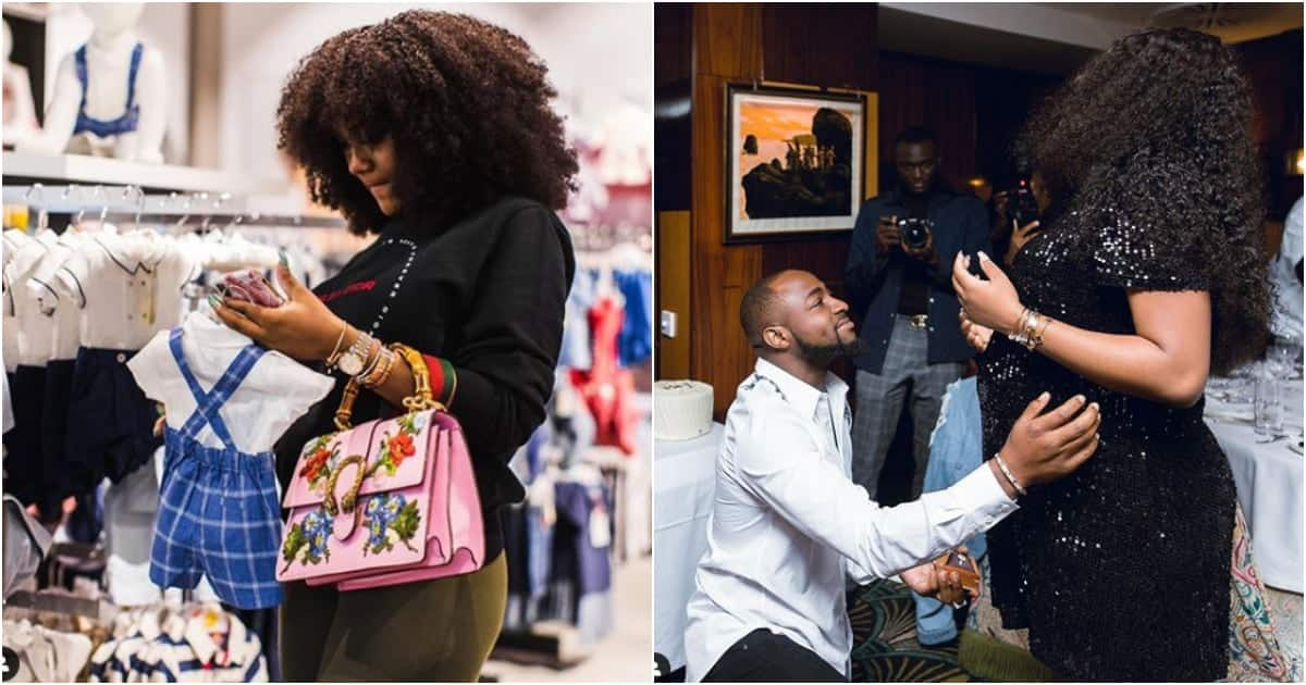 Davido's girlfriend spotted shopping for baby clothes