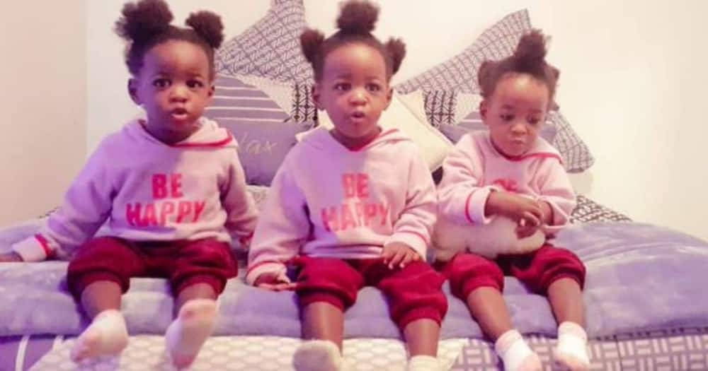A proud dad has shown off his triplets on social media. Image: @Lucasi30/Twitter