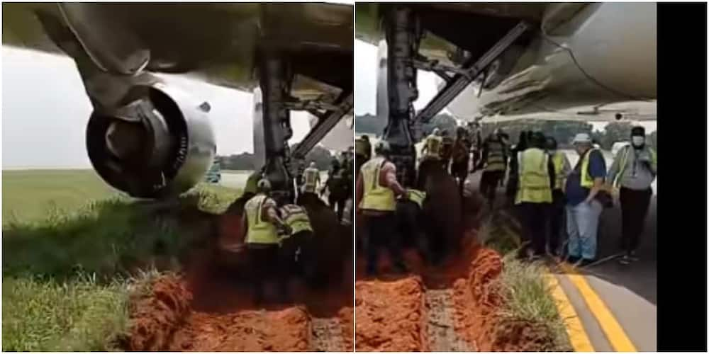 Plane gets stuck in the mud while preparing to take off, video cause stir on social media
