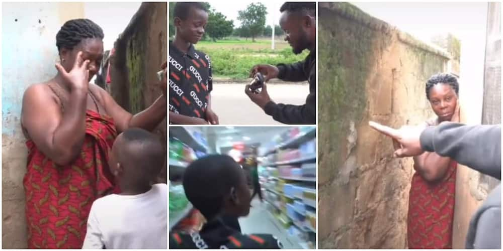 Nigerian woman shed tears as men her young son work for surprise her with glasses and foodstuff in video