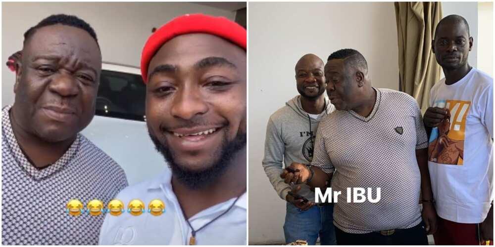 Comic actor Mr Ibu visits Davido's mansion (video)