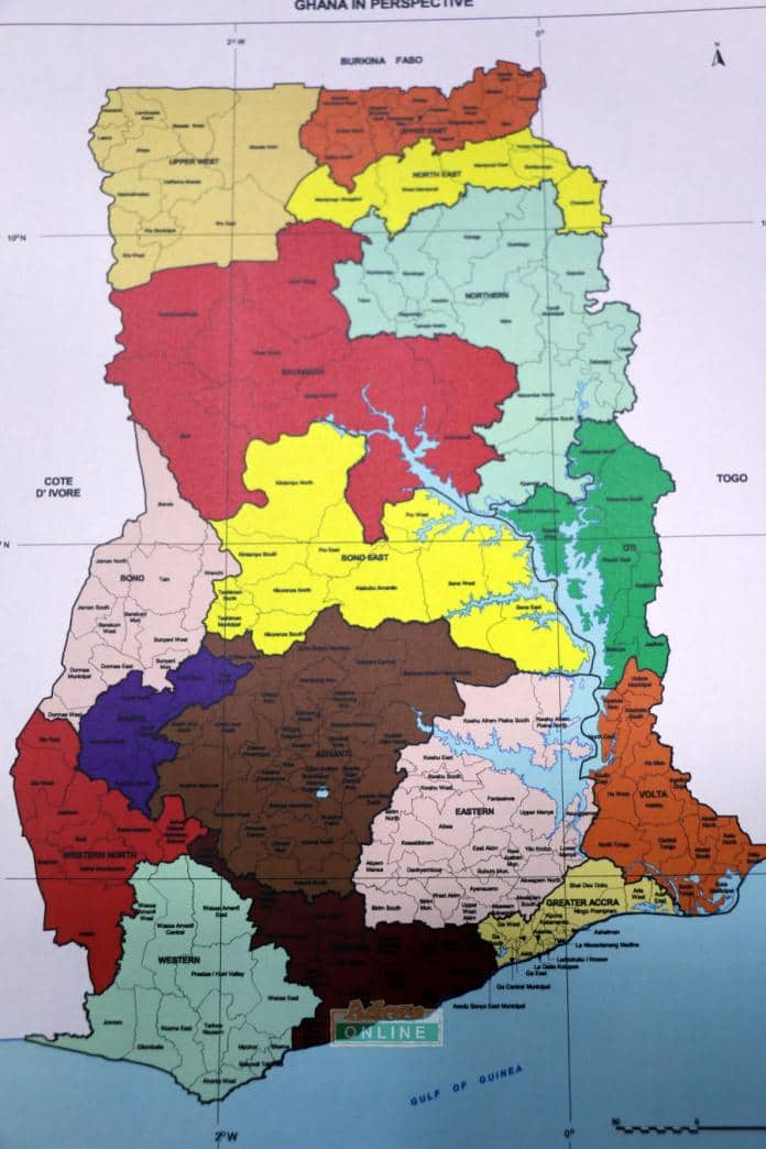 Photo of New Ghana Map After Six New Regions are Added ...