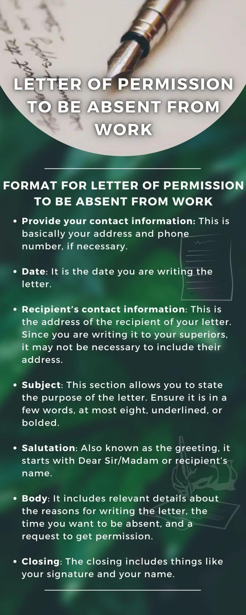 Letter of permission to be absent from work: how to write in 2021