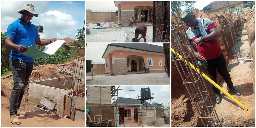 Goodbye to house rents; Reactions as Nigerian man buys land and builds fine house on it within 12 months
