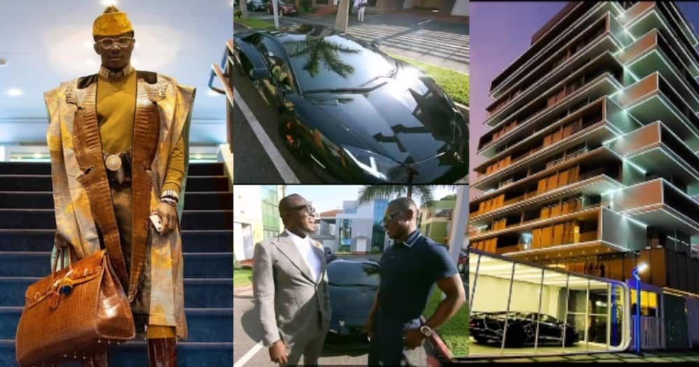 Nana Cheddar Drops New Video of Expensive Lamborghini as he Talks like a Boss with Bola Ray