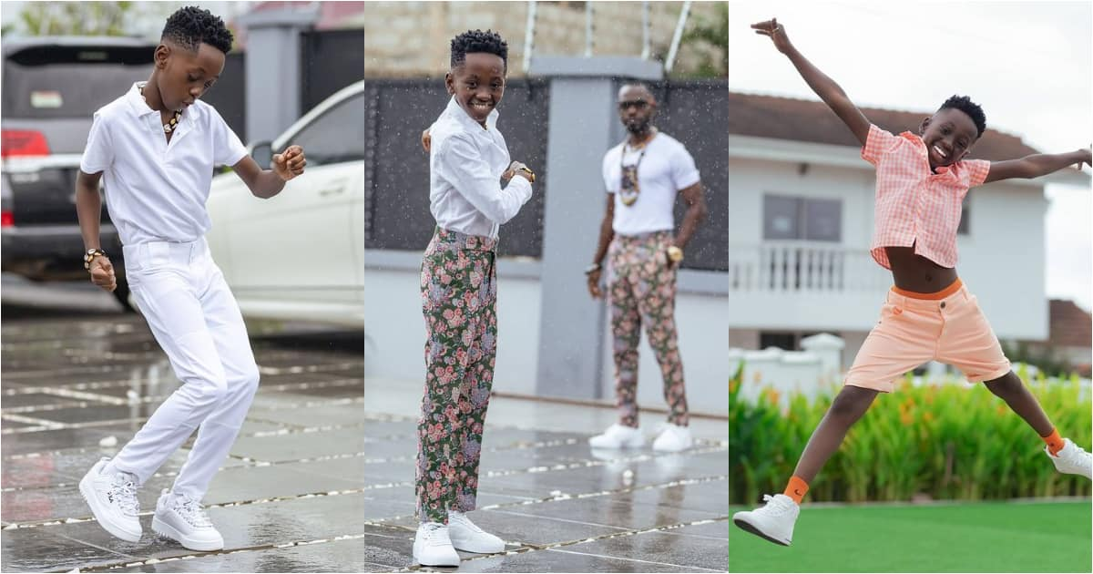 """""""Ɔkɔtɔ nwo anomaa"""" - Fans stunned over video of Okyeame Kwame's son rapping more than daddy at just 11 years"""
