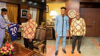Chelsea winger Callum Hudson-Odoi meets Akufo-Addo; gifts him a signed jersey (photos)